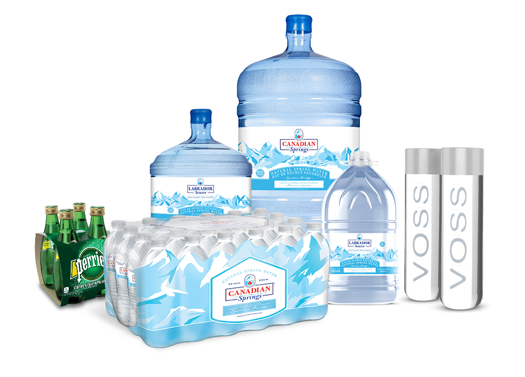 Single-serve bottled water and 3- and 5-gallon bottles